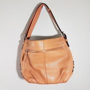 Coach Orange Pebble Leather Shoulder Bag Preowned